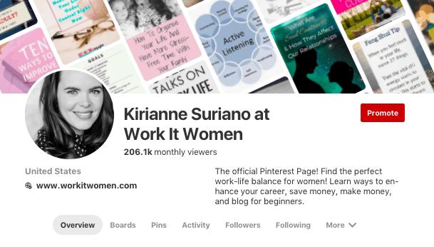 Work It Women Pinterest Account Overview